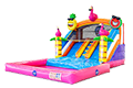 Opblaasbaar springkussen met koppelbaar badje in flamingo thema kopen voor kinderen