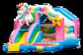 Opblaasbaar overdekt springkussen met glijbaan in thema unicorn kopen voor kinderen