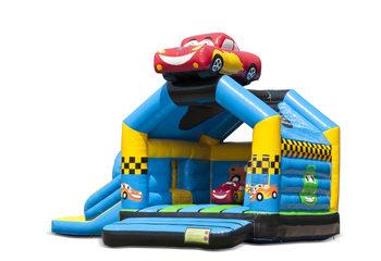 Opblaasbaar overdekt multiplay multifun springkussen met glijbaan kopen in thema auto cars voor kinderen. Bestel springkussens online bij JB Inflatables Nederland