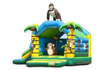 Opblaasbaar overdekt multifun springkussen met glijbaan kopen in thema jungle met gorilla voor kinderen. Bestel springkussens online bij JB Inflatables Nederland
