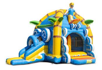 Opblaasbaar overdekt multifun super springkussen met glijbaan kopen in thema strand beach voor kinderen Bestel springkussens online bij JB Inflatables Nederland
