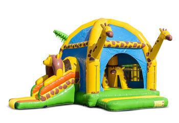 Opblaasbaar overdekt multifun super springkussen met glijbaan kopen in thema giraffe voor kinderen. Bestel springkussens online bij JB Inflatables Nederland