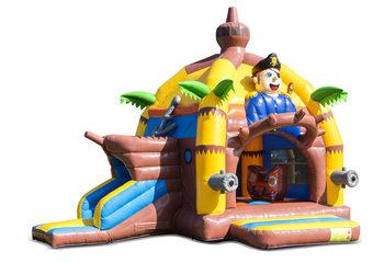 Opblaasbaar overdekt multifun super springkussen met glijbaan kopen in thema piraat voor kinderen. Bestel springkastelen online bij JB Inflatables Nederland