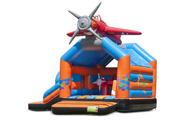 Opblaasbaar overdekt multiplay multifun springkussen met glijbaan kopen in thema vliegtuig voor kinderen. Bestel springkussens online bij JB Inflatables Nederland