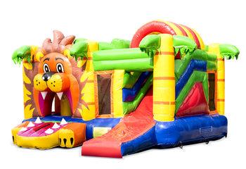 Overdekt opblaasbaar multiplay springkussen met glijbaan kopen in thema leeuw voor kinderen. Bestel springkussens online bij JB Inflatables Nederland