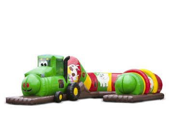 Opblaasbare speelslang tractor groen