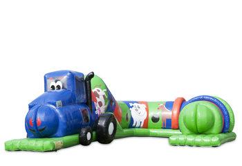 Opblaasbare speeltunnel tractor blauw