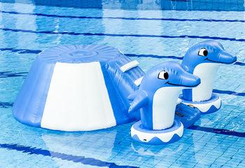 Opblaasbare zwembad dolfijn glijbaan
