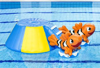 Opblaasbare zwembad glijbaan clownvis