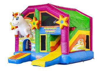 Opblaasbaar overdekt multiplay springkussen met glijbaan kopen in thema unicorn voor kinderen. Bestel opblaasbare springkussens online bij JB Inflatables Nederland