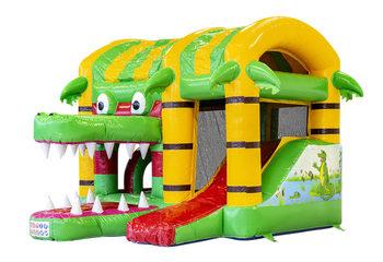 Klein overdekt opblaasbaar multiplay springkussen kopen in thema krokodil voor kinderen. Bestel opblaasbare springkussens online bij JB Inflatables Nederland