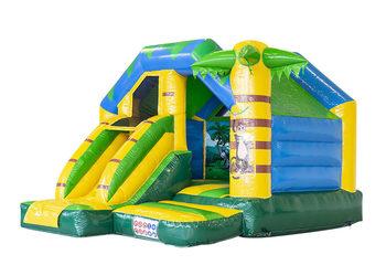 Opblaasbare slide combo springkussen in jungle thema te koop voor kinderen bij JB Inflatables Nederland. Bestel nu opblaasbare springkussens met glijbaan