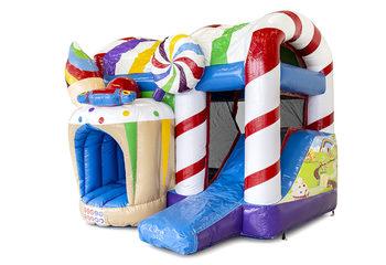 Klein overdekt opblaasbaar multiplay luchtkussen met glijbaan kopen in thema snoep candyworld voor kinderen. Bestel opblaasbare springkastelen online bij JB Inflatables Nederland