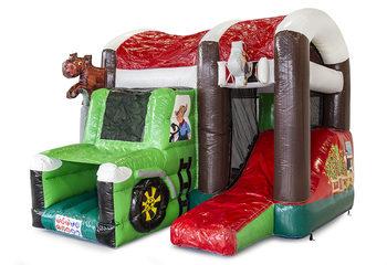 Klein overdekt opblaasbaar multiplay luchtkussen met glijbaan kopen in thema boerderij tractor voor kinderen