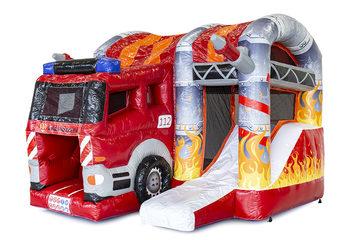 Klein overdekt opblaasbaar multiplay luchtkussen met glijbaan kopen in thema brandweer voor kinderen. Bestel opblaasbare luchtkussens online bij JB Inflatables Nederland