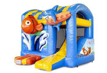 Klein overdekt opblaasbaar luchtkussen met glijbaan kopen in thema seaworld nemo voor kinderen. Bestel opblaasbare springkastelen online bij JB Inflatables Nederland
