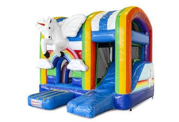 Klein overdekt opblaasbaar multiplay luchtkussen met glijbaan kopen in thema unicorn voor kinderen. Bestel opblaasbare springkastelen online bij JB Inflatables Nederland
