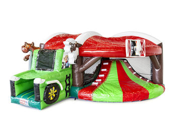 Overdekt opblaasbaar multiplay springkasteel met glijbaan kopen in thema boerderij tractor voor kinderen. Bestel opblaasbare springkasteel online bij JB Inflatables Nederland