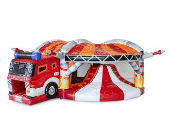 Opblaasbaar overdekt multiplay springkussen met glijbaan kopen in thema brandweer voor kinderen. Bestel opblaasbare springkussens online bij JB Inflatables Nederland