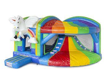 Opblaasbaar overdekt multiplay xl luchtkussen met glijbaan kopen in thema unicorn regenboog voor kinderen. Bestel opblaasbare luchtkussens online bij JB Inflatables Nederland