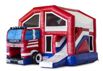 Opblaasbaar overdekt multiplay springkasteel met glijbaan kopen in thema brandweer voor kinderen. Bestel opblaasbare springkussens online bij JB Inflatables Nederland