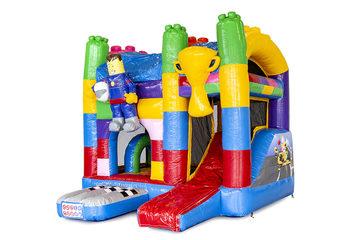 Klein overdekt multiplay opblaasbaar luchtkussen met glijbaan kopen in thema lego superblocks voor kinderen. Bestel opblaasbare springkastelen online bij JB Inflatables Nederland