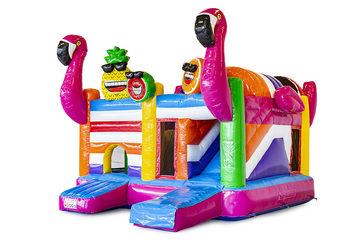 Opblaasbaar open multiplay springkussen met glijbaan kopen in thema flamingo voor kinderen. Bestel opblaasbare springkussens online bij JB Inflatables Nederland