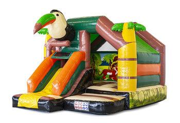 Opblaasbaar slide combo springkussen met glijbaan kopen in thema amazone voor kinderen. Bestel springkussens bij JB Inflatables Nederland