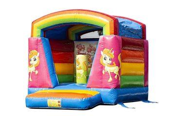 Klein springkussen overdekt kopen in thema unicorn voor kinderen. Bestel springkussens online bij JB Inflatables Nederland