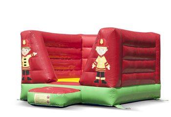 Klein open rood groene springkussen te koop in brandweer thema voor kinderen. Koop springkussens online bij JB Inflatables Nederland