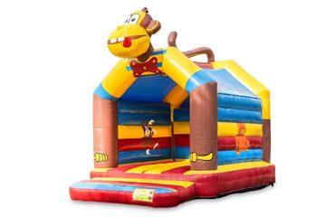 Standaard springkussen voor kinderen kopen in opvallende kleuren met bovenop een groot 3D object in de vorm van een aap. Koop springkussens online bij JB Inflatables Nederland