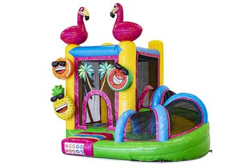 Klein overdekt opblaasbaar multiplay springkussen met glijbaan kopen in thema flamingo voor kinderen. Bestel opblaasbare springkastelen online bij JB Inflatables Nederland