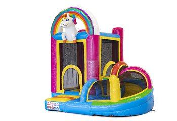 Klein overdekt opblaasbaar multiplay springkussen met glijbaan kopen in thema unicorn voor kinderen. Bestel opblaasbare springkastelen online bij JB Inflatables Nederland
