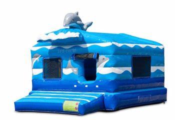 Groot opblaasbaar overdekt play fun blauwe ballenbak springkussen kopen in thema seaworld zee vissen voor kinderen. Bestel springkussens online bij JB Inflatables Nederland