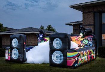 Opblaasbaar open bubble boarding luchtkussen met schuim kopen in thema disco dansen muziek voor kinderen