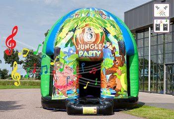 Groot opblaasbaar overdekt disco springkussen van 4,5 meter in thema jungle muziek kopen voor kinderen. Bestel opblaasbare springkussens bij JB Inflatables Nederland