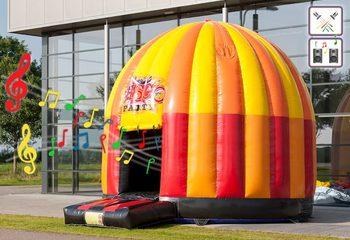 Groot opblaasbaar overdekt springkasteel van 5 meter kopen in thema disco voor kinderen