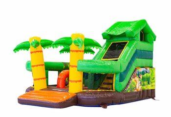 Groot inflatable open multiplay springkussen met glijbaan kopen in thema funcity jungle voor kinderen. Bestel springkussens online bij JB Inflatables Nederland