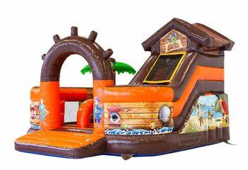Groot opblaasbaar open multiplay springkussen met glijbaan te koop in thema funcity piraat voor kinderen. Bestel springkussens online bij JB Inflatables Nederland