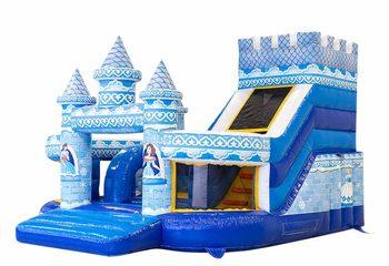 Groot opblaasbaar open blauw multiplay springkussen met glijbaan kopen in thema funcity prinses voor kinderen. Bestel springkussens online bij JB Inflatables Nederland