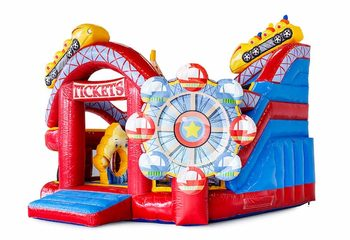 Groot opblaasbaar open multiplay springkussen met glijbaan kopen in thema achtbaan rollercoaster voor kinderen. Bestel springkussens online bij JB Inflatables Nederland