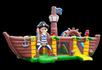 Groot opblaasbaar overdekt multiplay springkussen met slide kopen in thema xxl piraat voor kinderen. Bestel springkussens online bij JB Inflatables Nederland