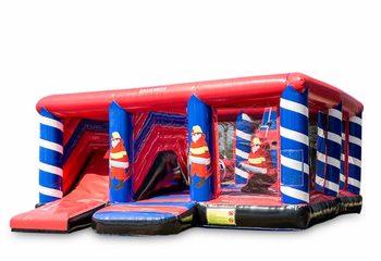 Groot opblaasbaar open multiplay springkussen met glijbaan kopen in thema brandweer voor kinderen. Bestel springkussens online bij JB Inflatables Nederland