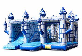 Groot opblaasbaar open blauw wit multiplay springkussen met glijbaan kopen in thema indoor kasteel voor kinderen. Bestel springkussens online bij JB Inflatables Nederland