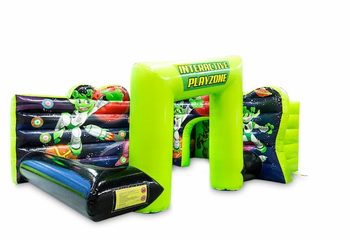 Opblaasbaar open play fun interactief playzone springkussen kopen in groen zwart spelen voor kinderen. Bestel springkussens online bij JB Inflatables Nederland