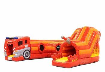 Groot opblaasbaar overdekt play fun springkussen kruiptunnel kopen in thema brandweer kruipen spelen voor kinderen. Bestel springkussens online bij JB Inflatables Nederland