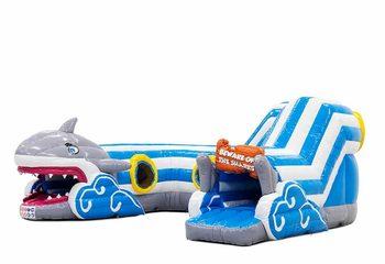 Groot opblaasbaar overdekt play fun kruiptunnel springkussen kopen kruipen in thema haai shark voor kinderen. Bestel springkussens online bij JB Inflatables Nederland