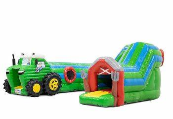 Groot opblaasbaar overdekt play fun springkussen kruiptunnel kopen in thema tractor trekker voor kinderen. Bestel springkussens online bij JB Inflatables Nederland