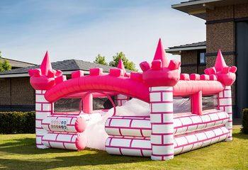 Opblaasbaar open bubble boarding park luchtkussen met schuim kopen in thema roze prinses kasteel castle voor kinderen