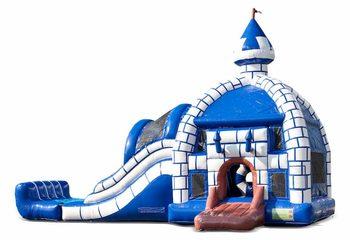 Groot opblaasbaar overdekt multiplay blauw wit super springkussen met glijbaan kopen in thema kasteel voor kinderen. Bestel springkussens online bij JB Inflatables Nederland